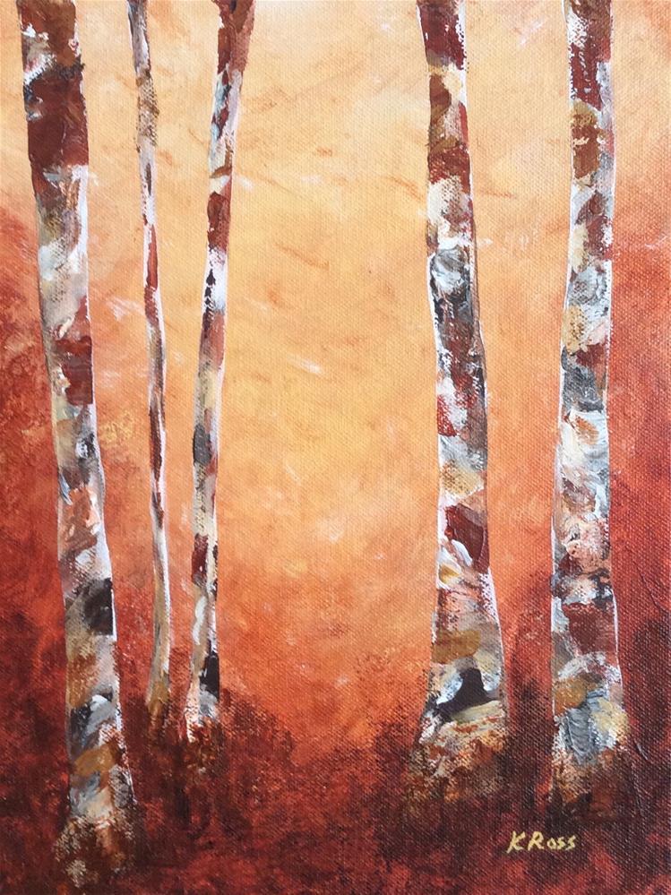 """""""Birch trees"""" original fine art by Kathryn Ross"""