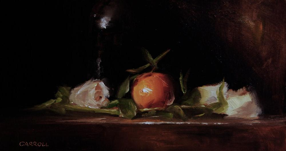 """Clementine with White Roses"" original fine art by Neil Carroll"