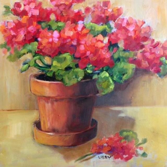 """""""Geranium Choice"""" original fine art by Libby Anderson"""