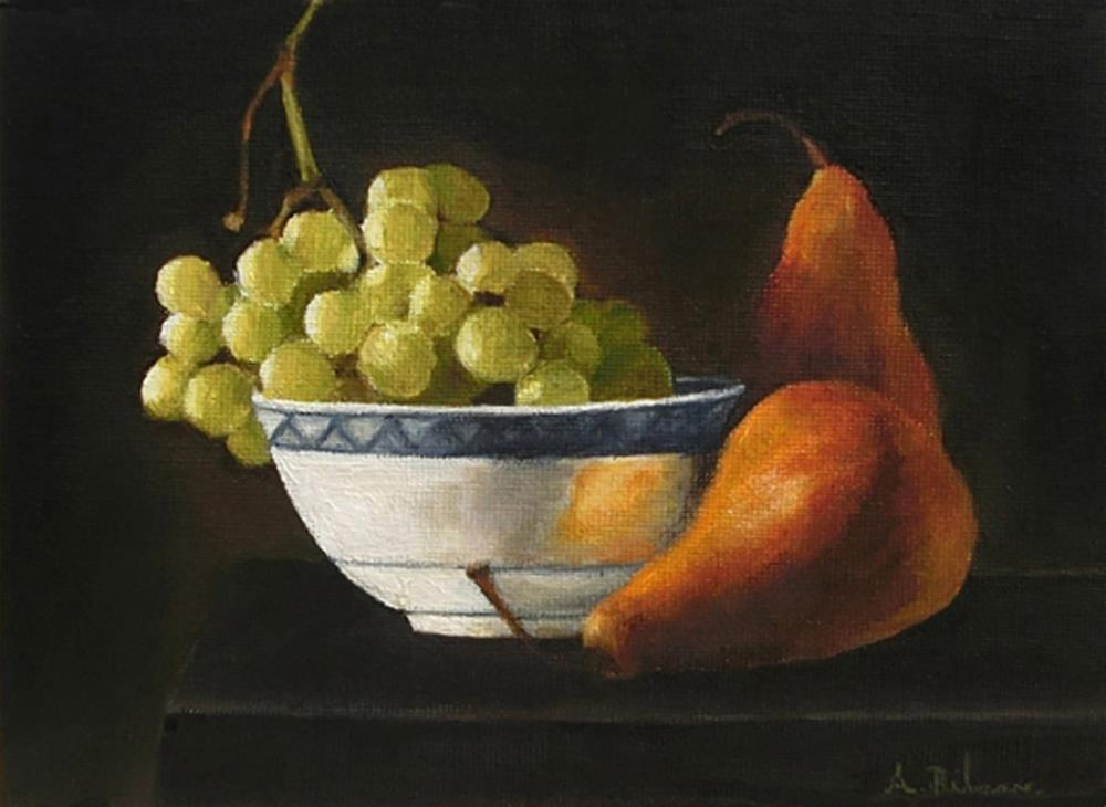 """Still Life with Grapes and Pears"" original fine art by Amanda Bilson"