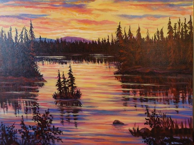 """Sunset on the Mitchell Pond"" original fine art by Jackie Irvine"