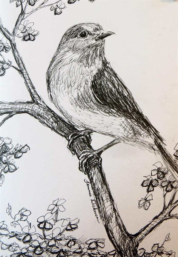 """Bluebird in the Pear Tree"" original fine art by Tammie Dickerson"