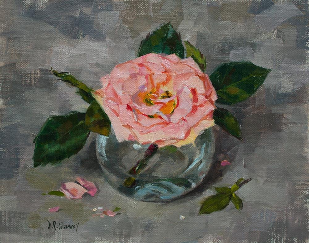 """Rose in Bubble Vase"" original fine art by Donna C Farrell"