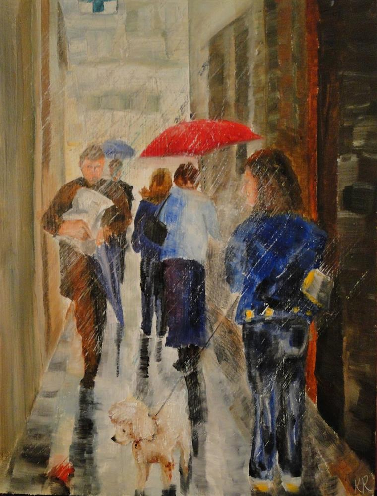 """Red Umbrella 2"" original fine art by Karen Robinson"