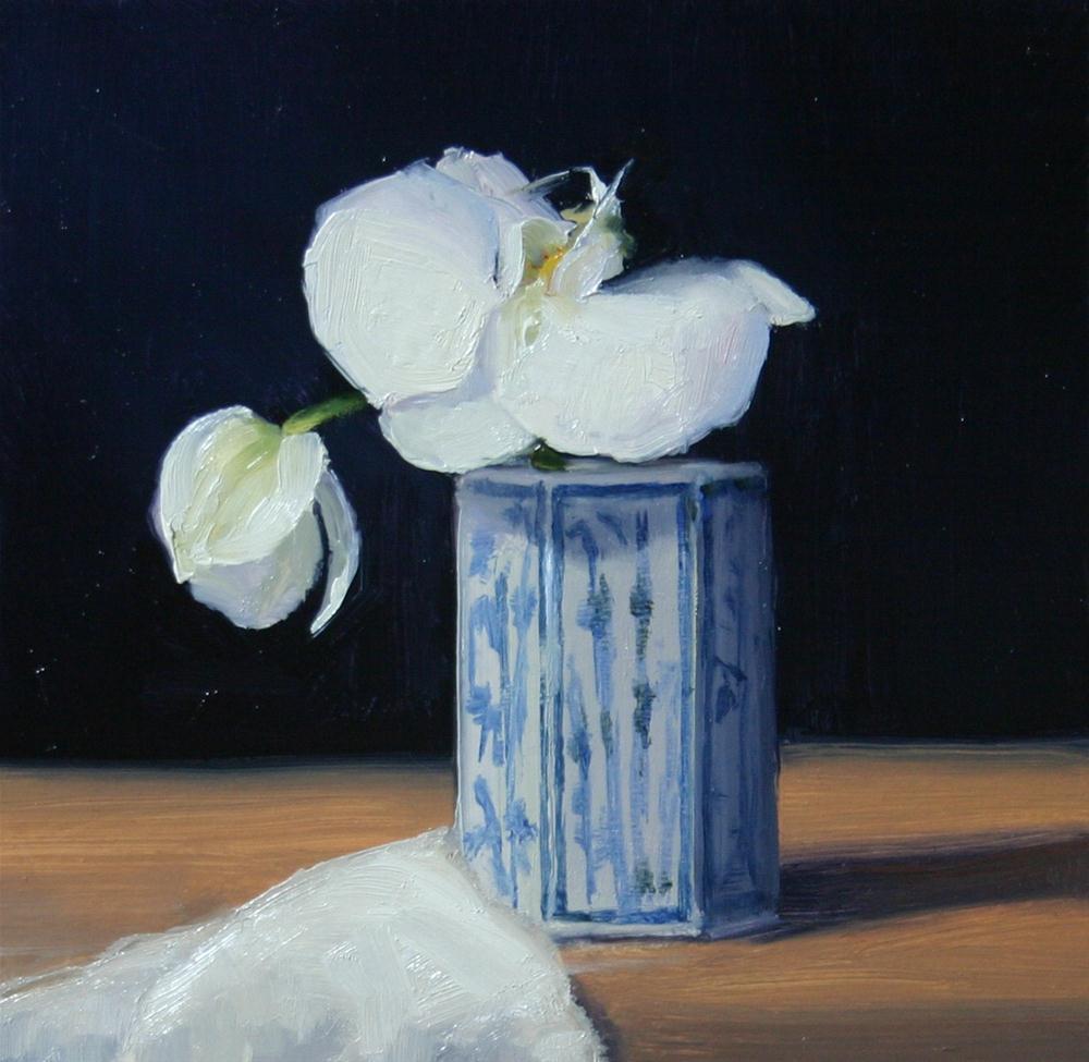 """Orchid in Oriental vase"" original fine art by Liz Balkwill"