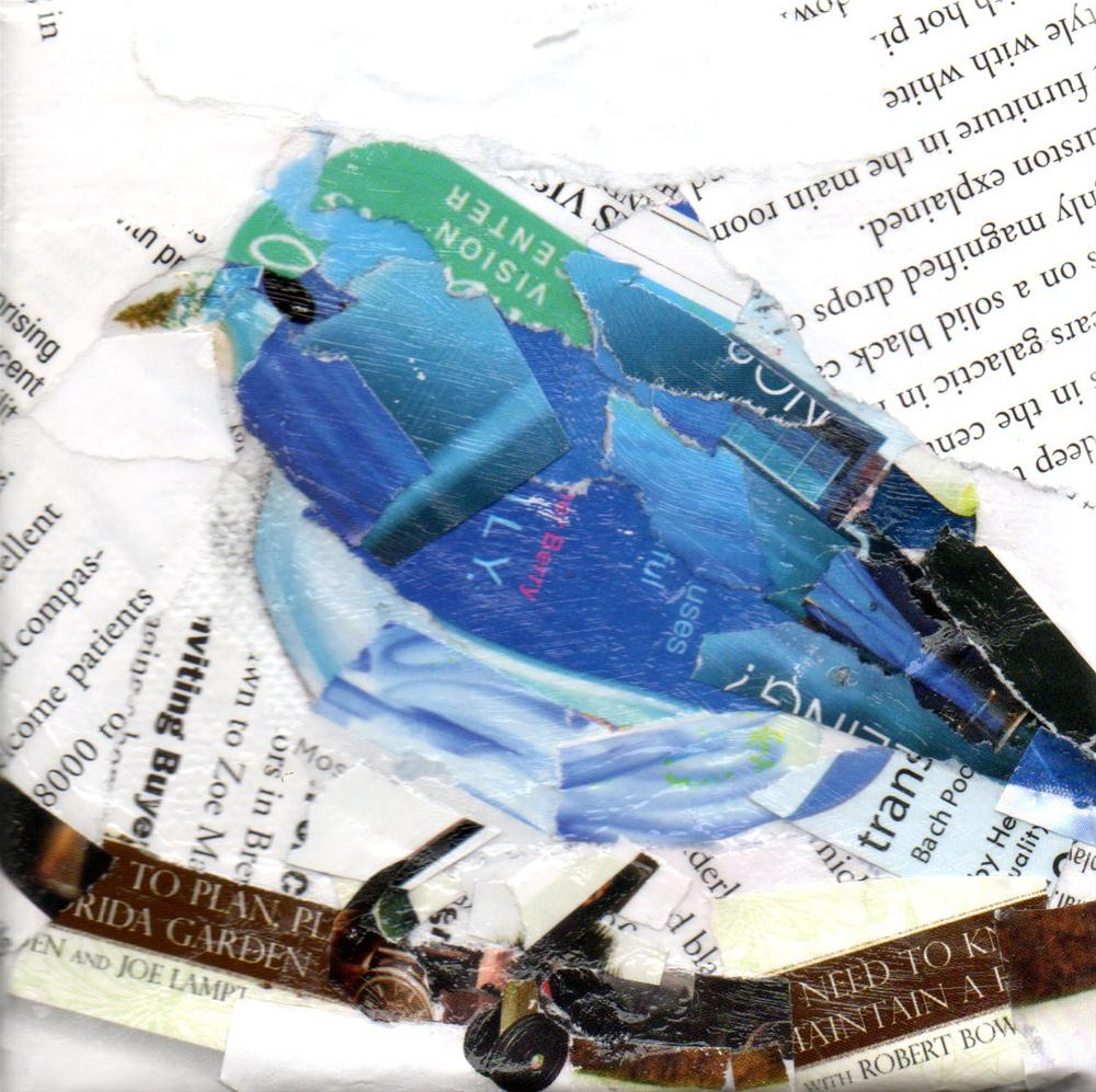 """Teeny Birdie, 4x4 Collage"" original fine art by Carmen Beecher"