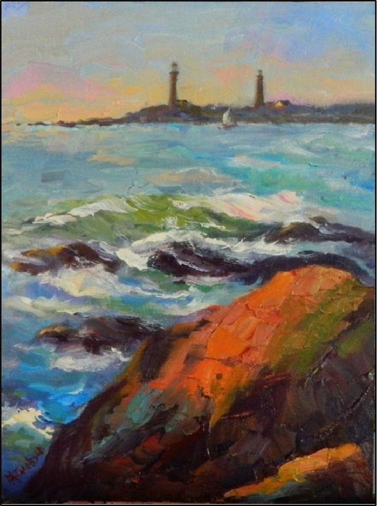 """Thatcher Island Twin Lights, plein air, 8x10, oil on panel"" original fine art by Maryanne Jacobsen"