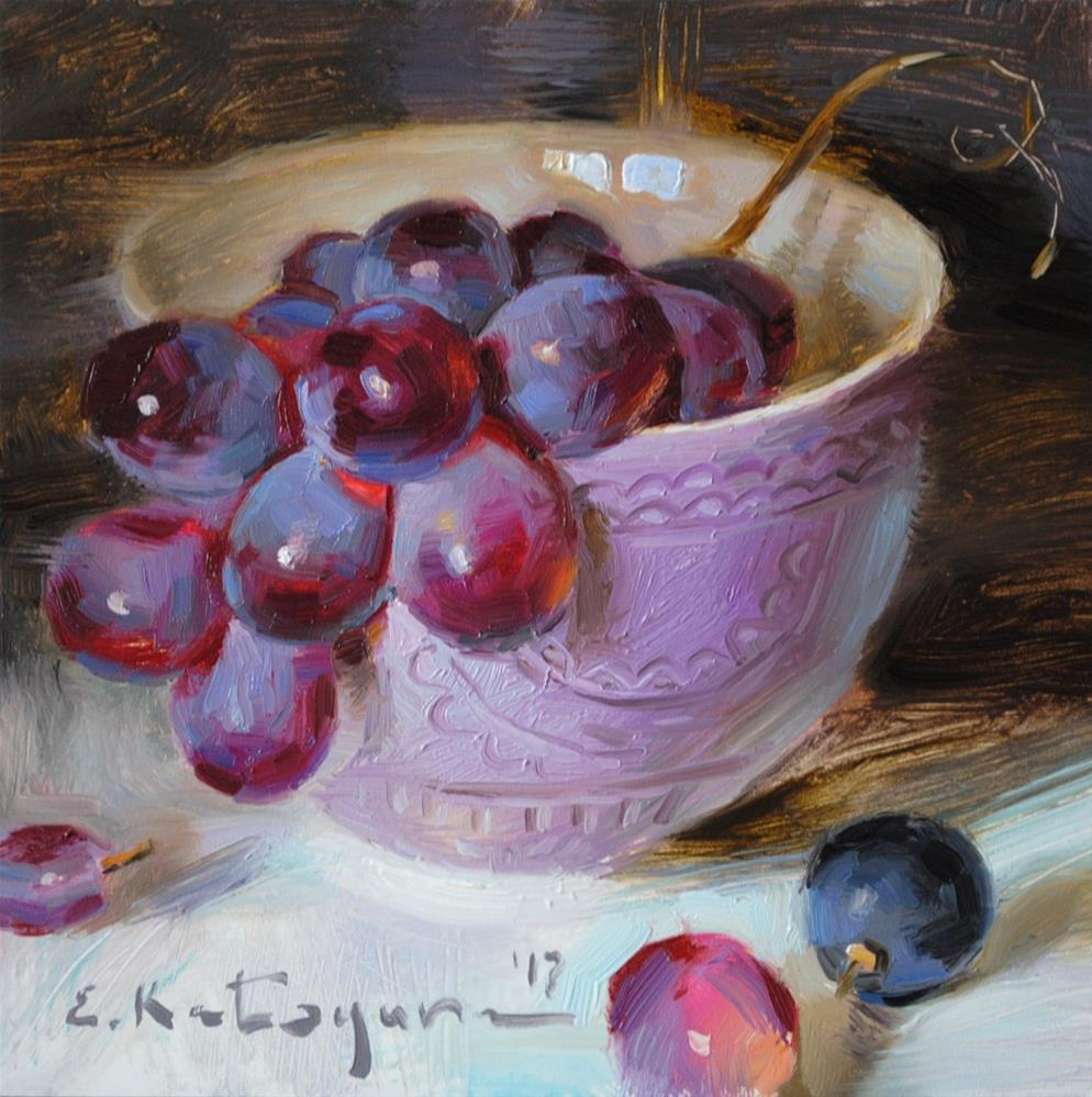 """Grapes in Lavender Bowl"" original fine art by Elena Katsyura"