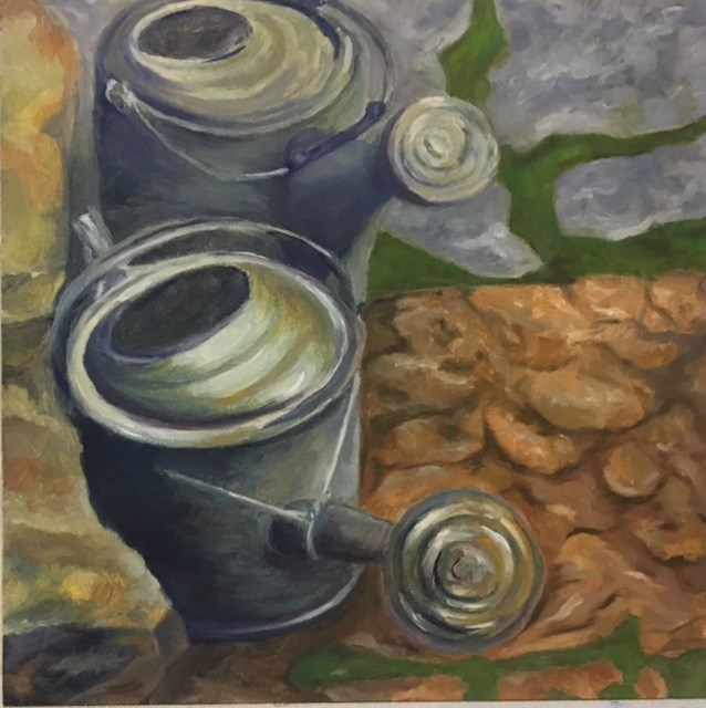 """Watering Cans"" original fine art by Karen Collins"