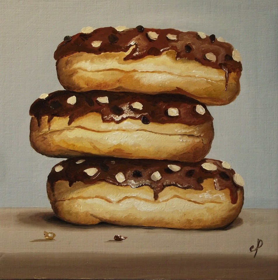 """Chocolate iced doughnuts"" original fine art by Jane Palmer"