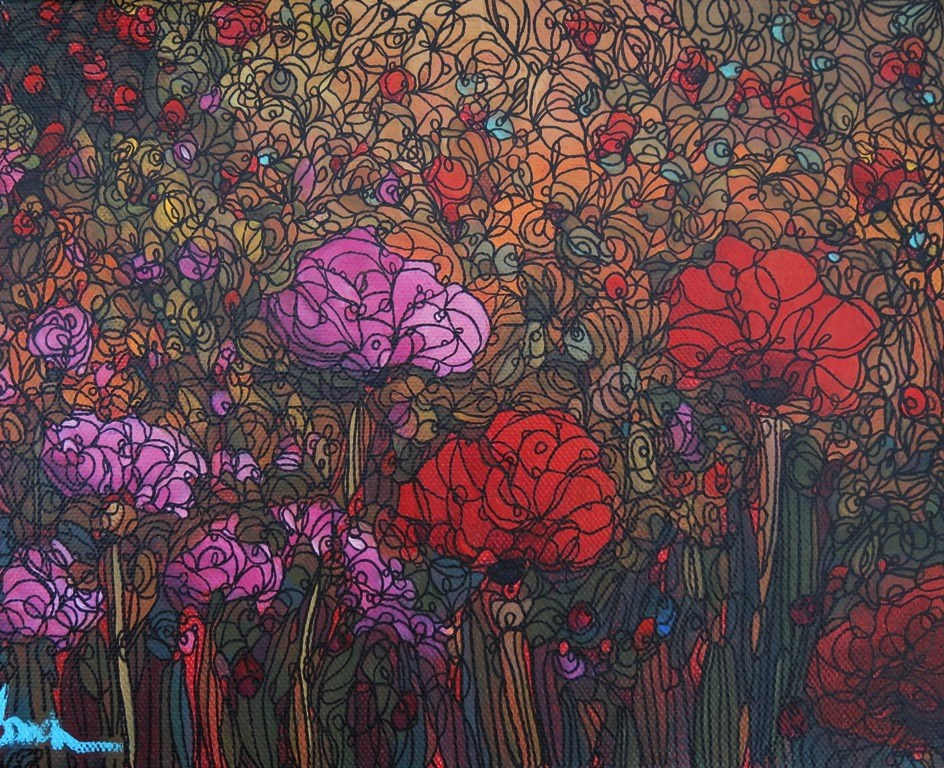 """148  POPPIES GALORE"" original fine art by Dee Sanchez"