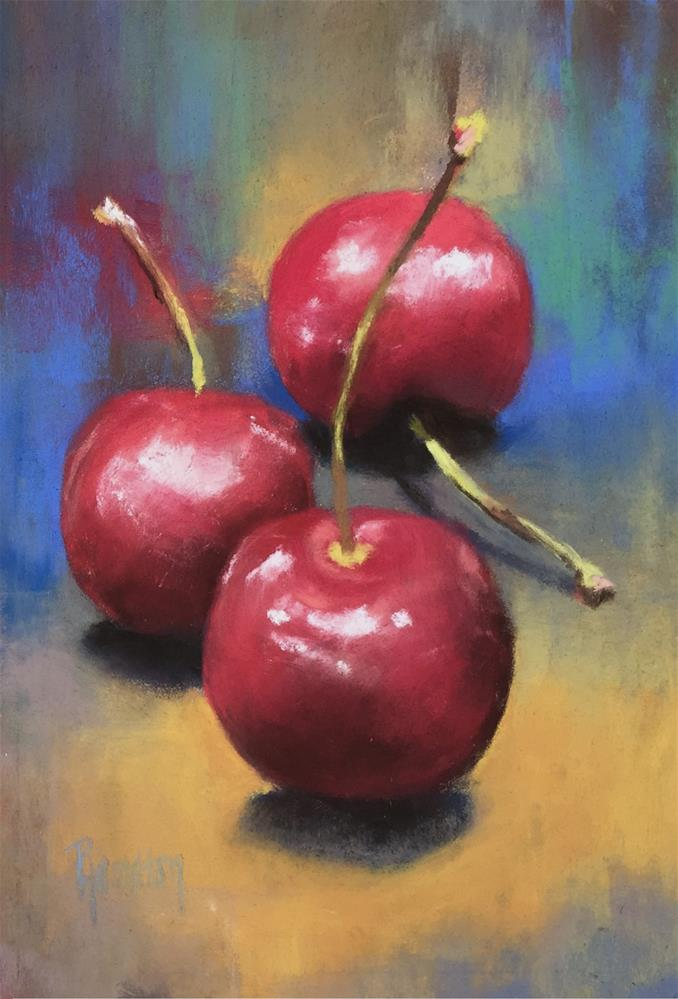 """Cherries II"" original fine art by Pamela Hamilton"