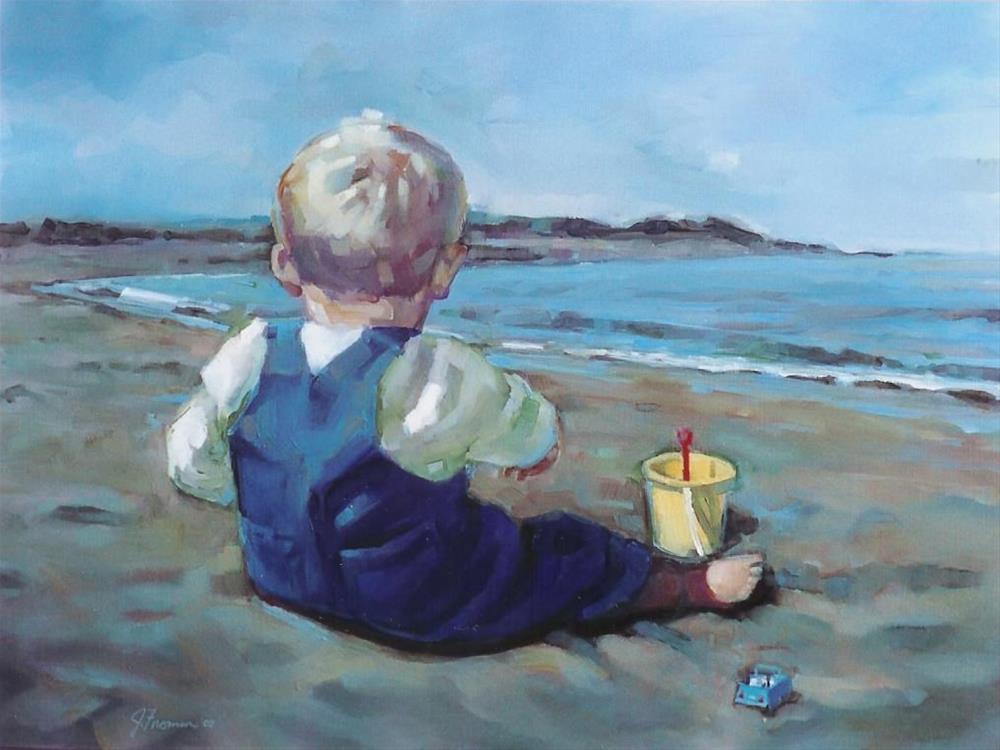 """""""Beach Toys"""" original fine art by Jeannette Fromm"""