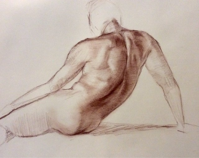 """Study of male back/torso"" original fine art by Hilary J. England"