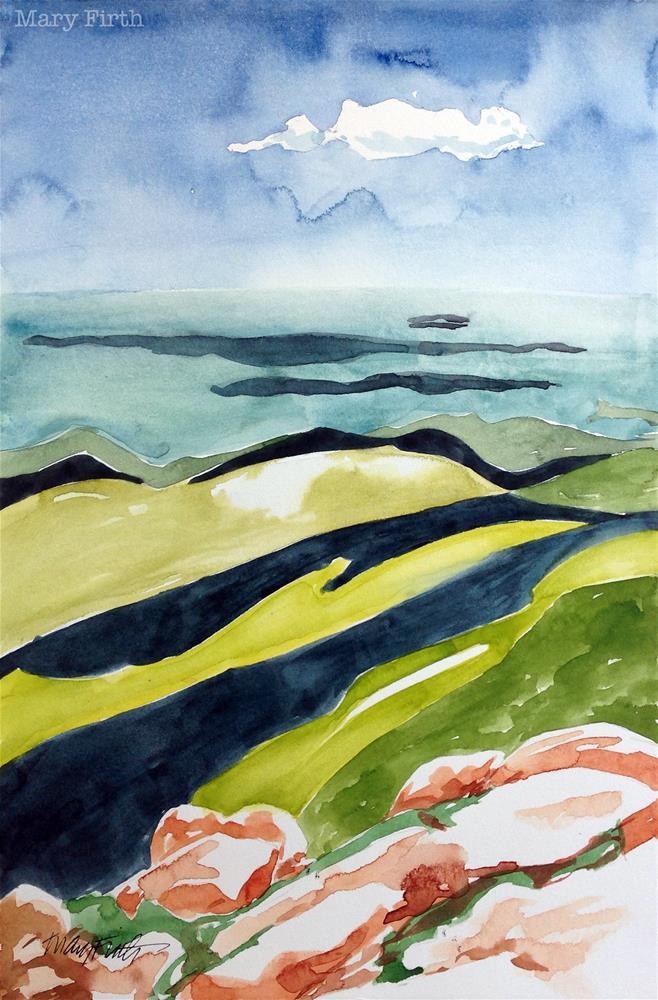 """striped rocks maine"" original fine art by Mary Firth"