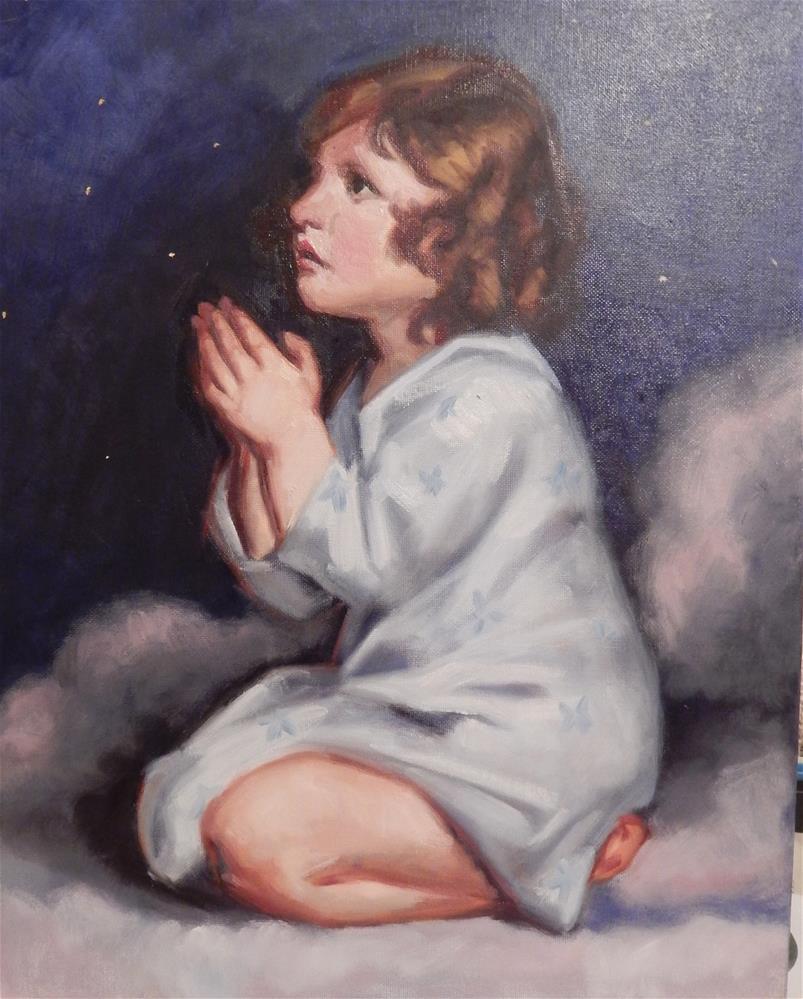 """Modified copy of J. Reynolds' Infant Samuel"" original fine art by Megan Schembre"