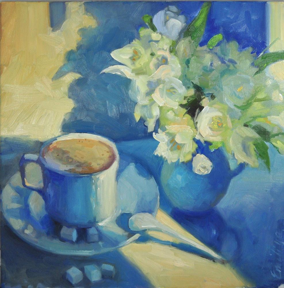 """Breakfast on the morning tram 20x20"" original fine art by Emiliya Lane"