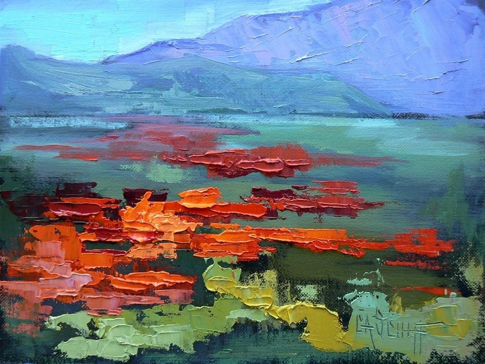 """Daily Painting, Landscape, Field of Poppies, 6x8, oil"" original fine art by Carol Schiff"