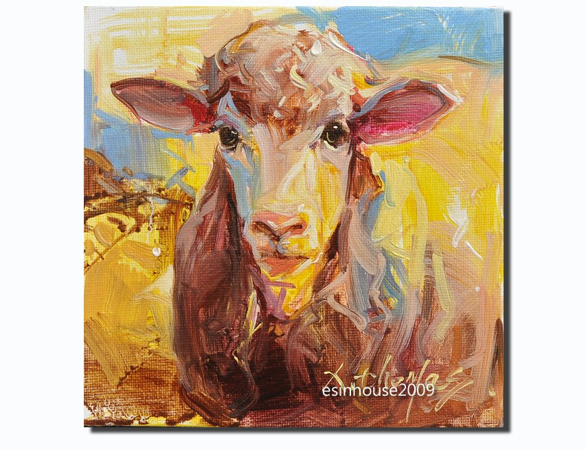 """Western Sheep portrait Original oil Painting on canvas panel Farm animals 6X6"" original fine art by Thomas Xie"