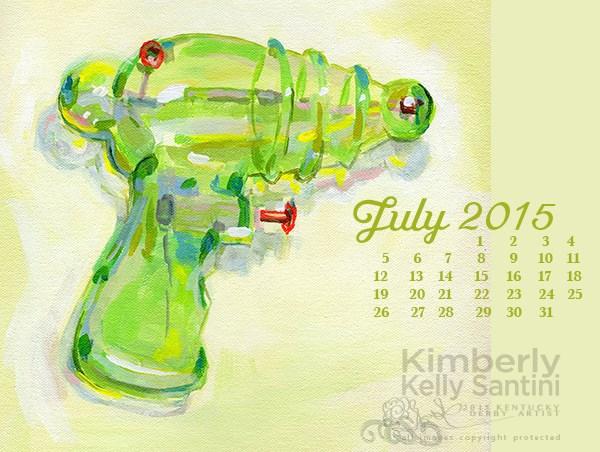 """July Desktop Calendar"" original fine art by Kimberly Santini"