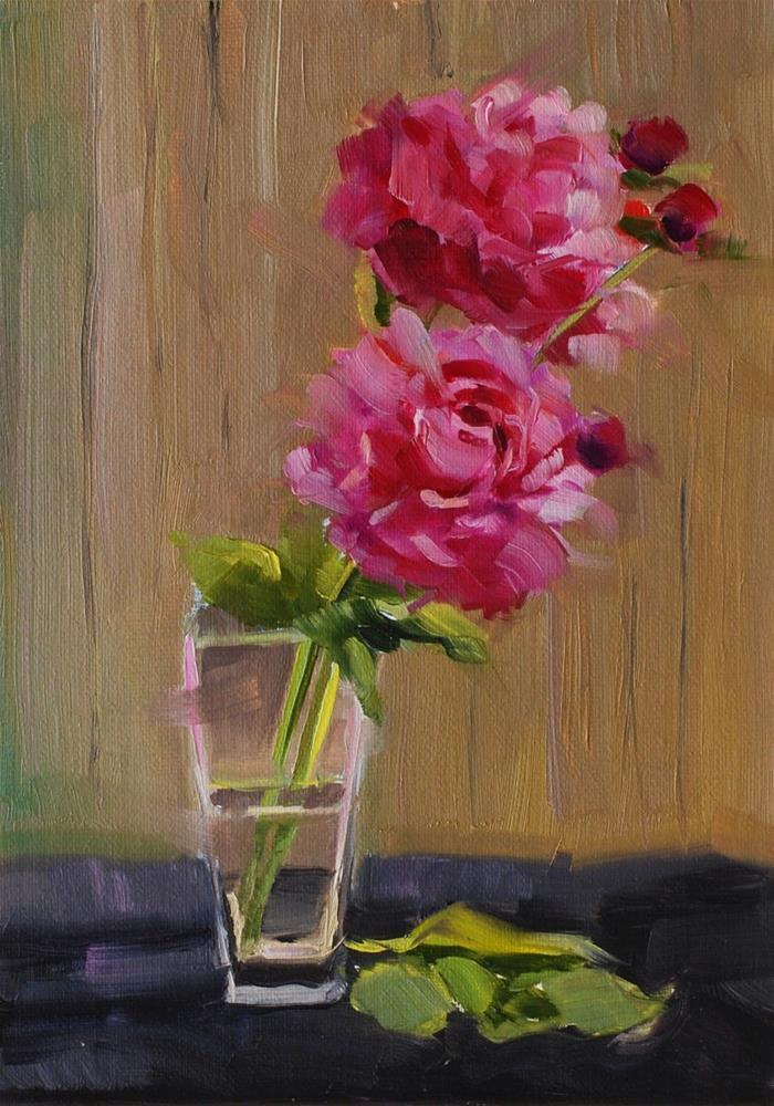 """""""No. 446 Practicing Peonies No. 1"""" original fine art by Susan McManamen"""