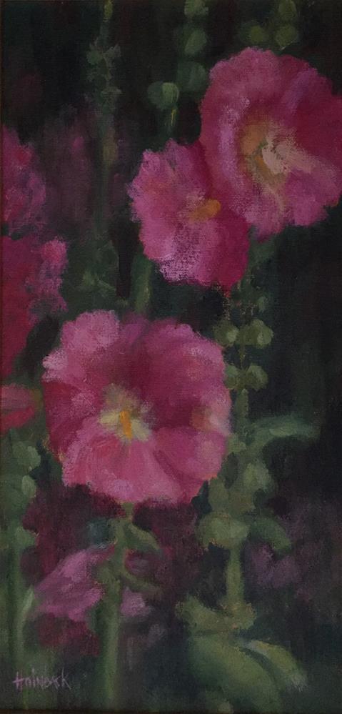 """Pink Hollyhocks"" original fine art by Pam Holnback"