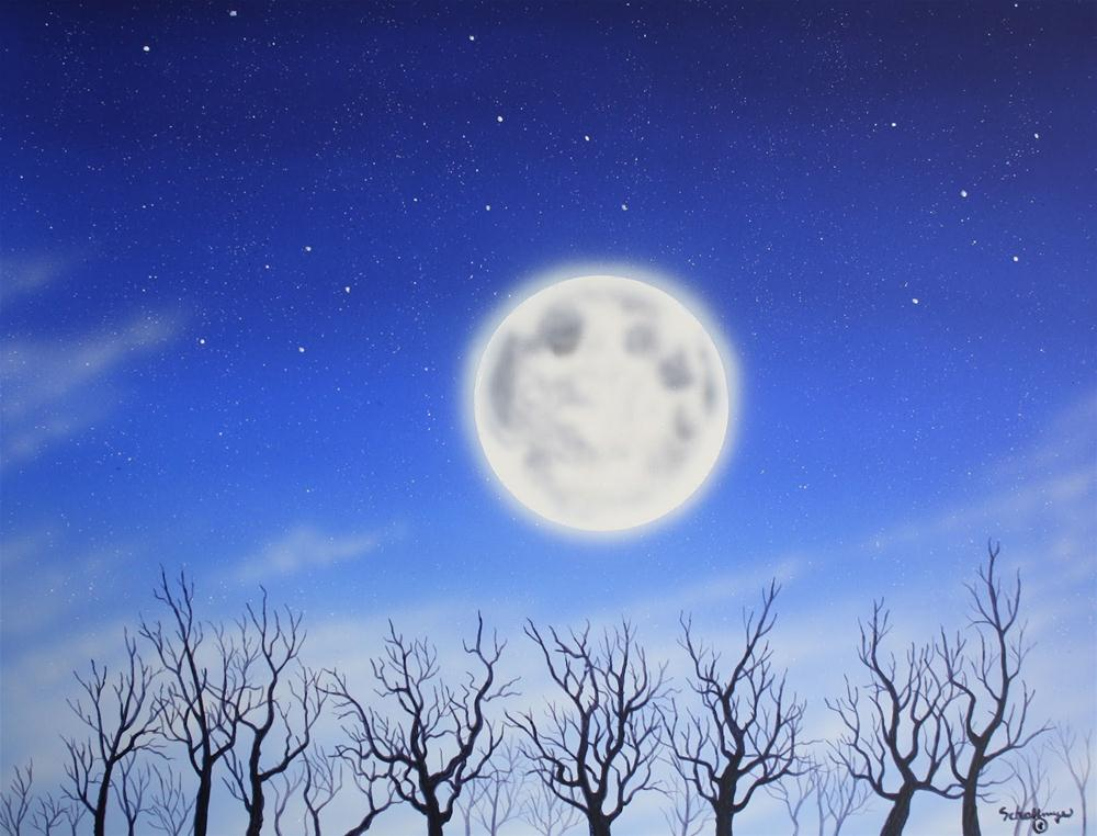 """February Moon Glow"" original fine art by Fred Schollmeyer"