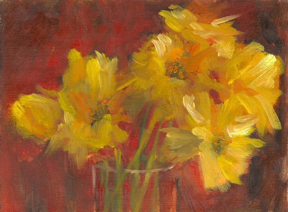 """Yellow Flowers in a Glass Vase"" original fine art by Marlene Lee"