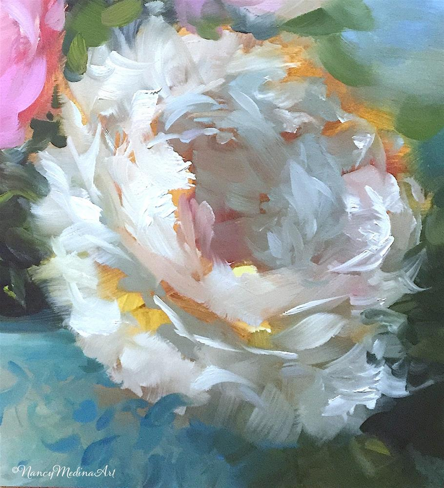 """May 11 Is Coming and Fall to Earth Peonies"" original fine art by Nancy Medina"