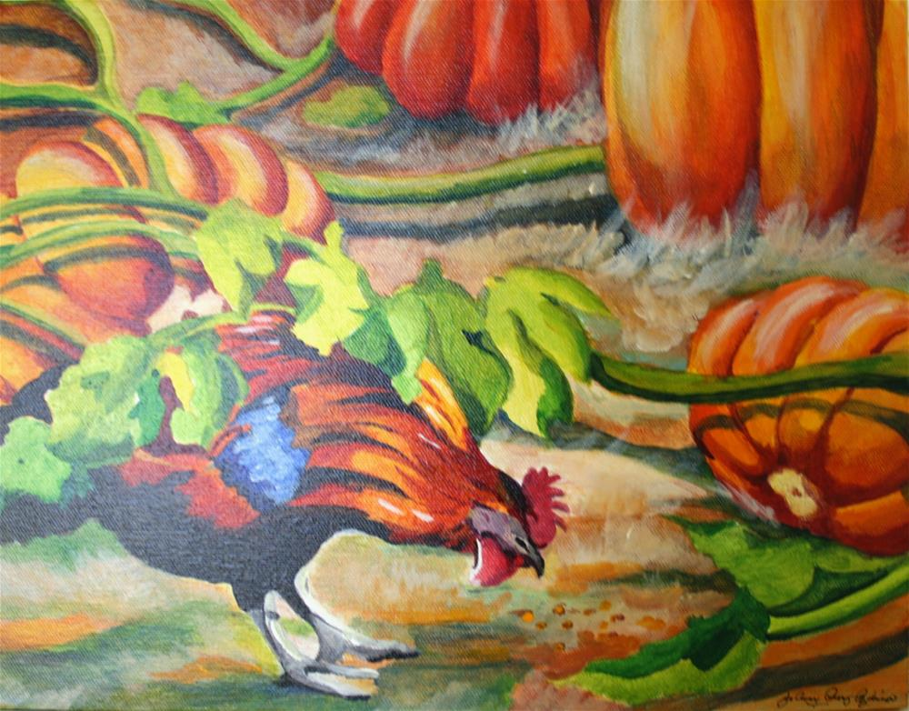 """October Rooster"" original fine art by JoAnne Perez Robinson"