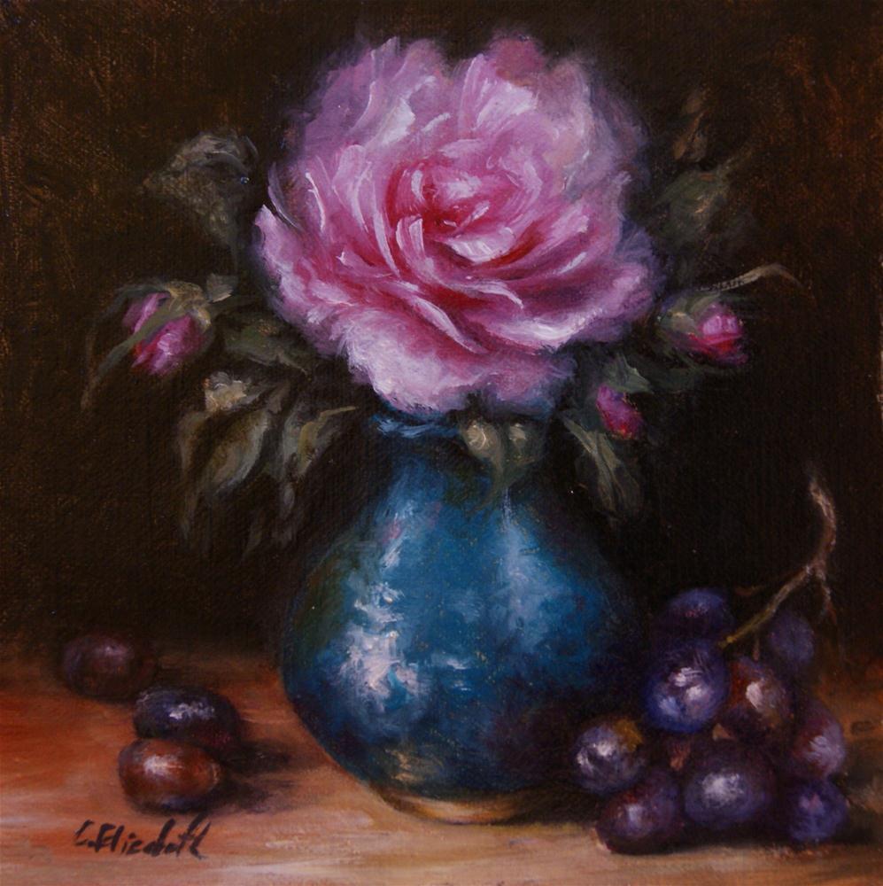 """""""Pink Rose in Turquoise Vase"""" original fine art by Carolina Elizabeth"""