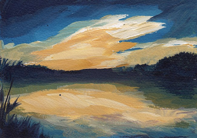 """Sunset Over the Lake"" original fine art by J M Needham"