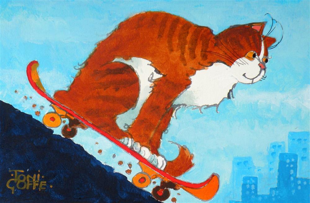 """Catboarding"" original fine art by Toni Goffe"