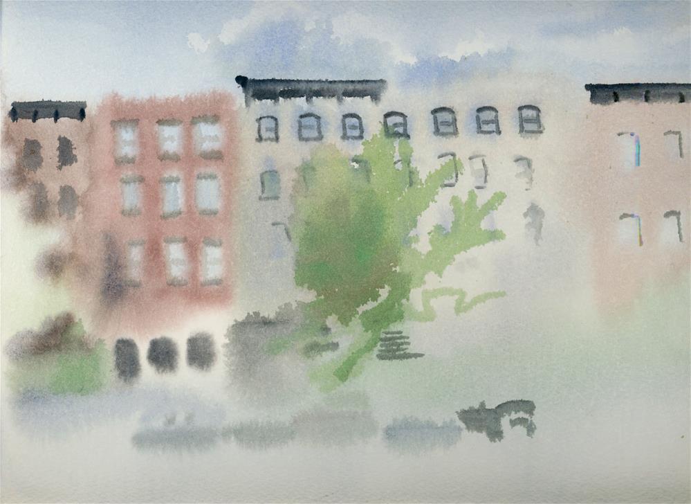 """""""Brooklyn Buildings #1"""" original fine art by Nancy Herman"""