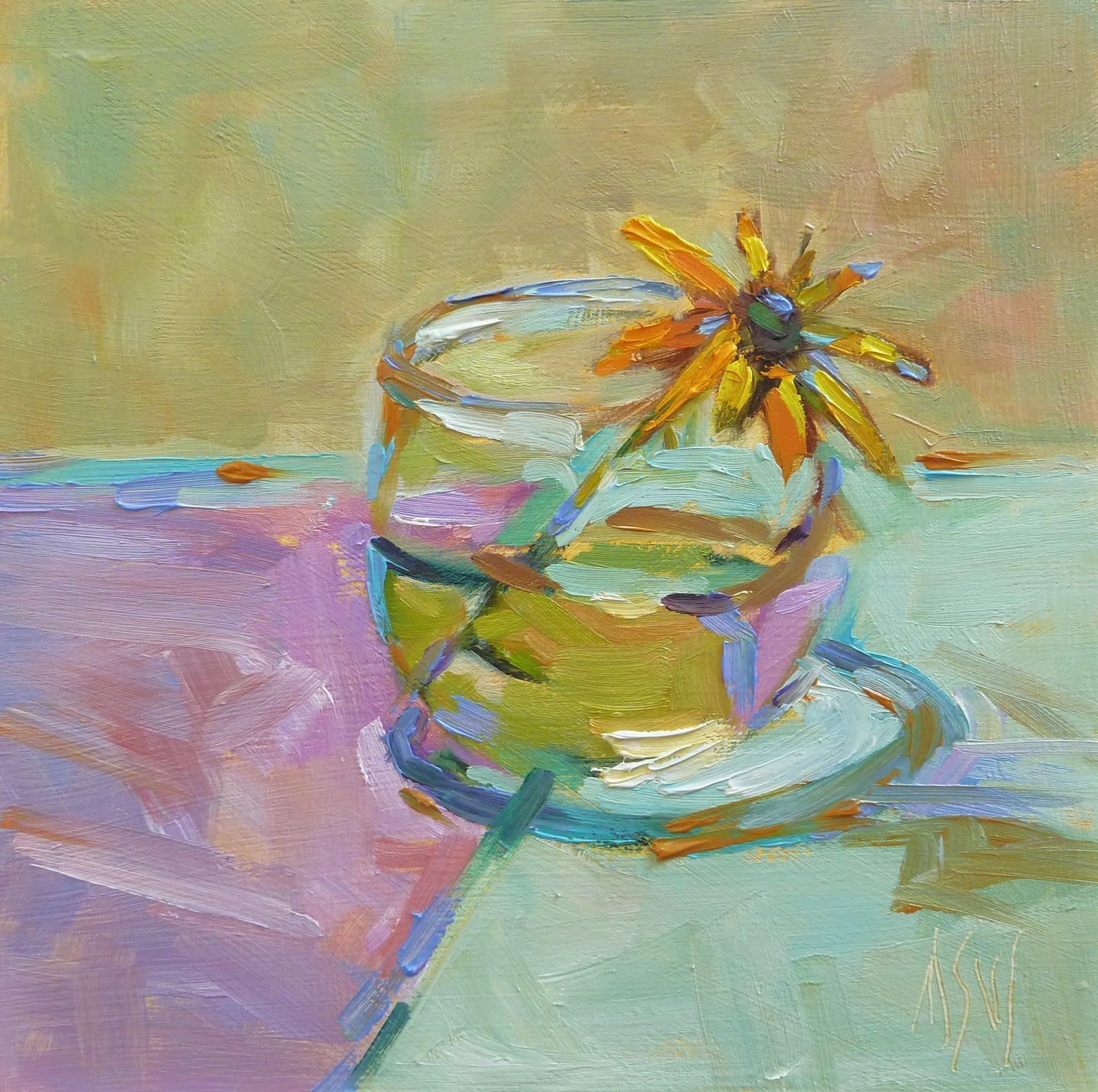 """""""Goodnight Irene 6x6 oil on hard board"""" original fine art by Mary Sheehan Winn"""
