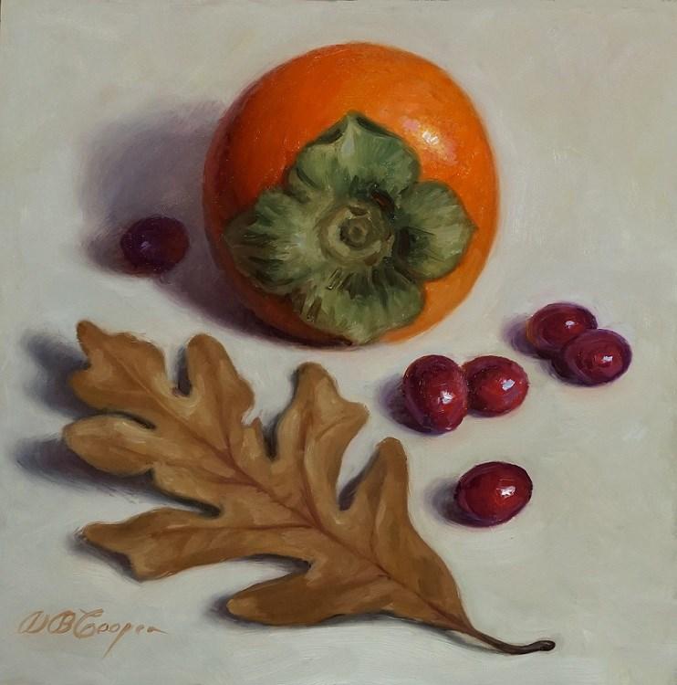 """Persimmon, Cranberries, and Oak Leaf"" original fine art by Debra Becks Cooper"