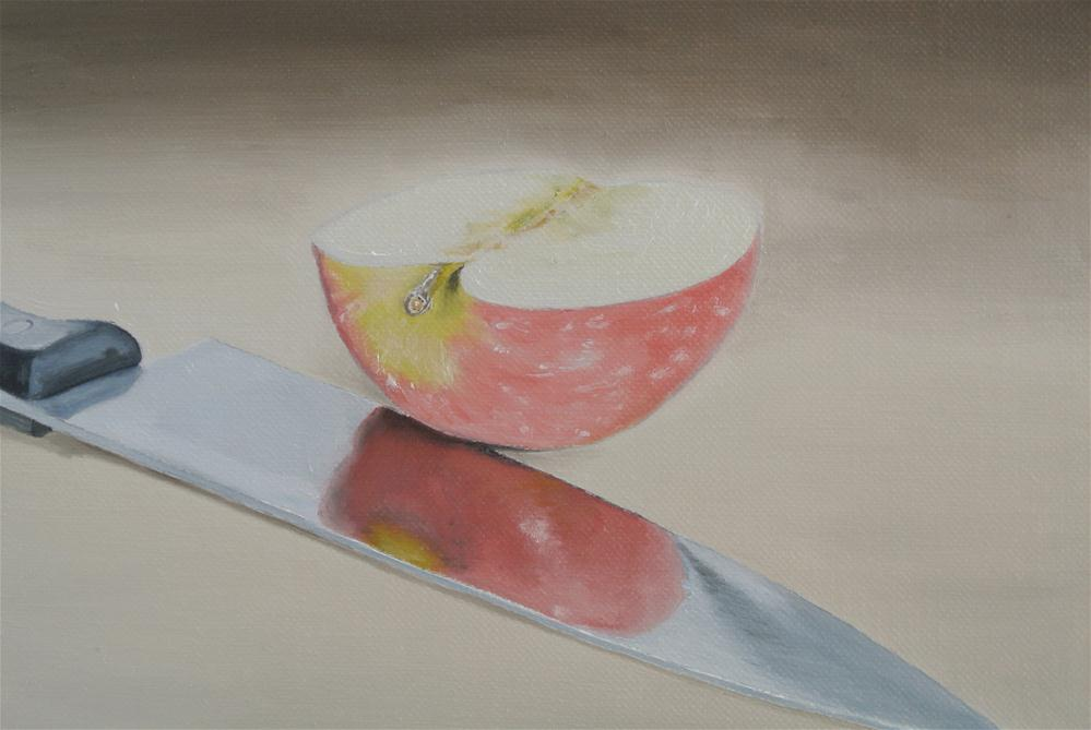 """Apple and Knife"" original fine art by James Coates"