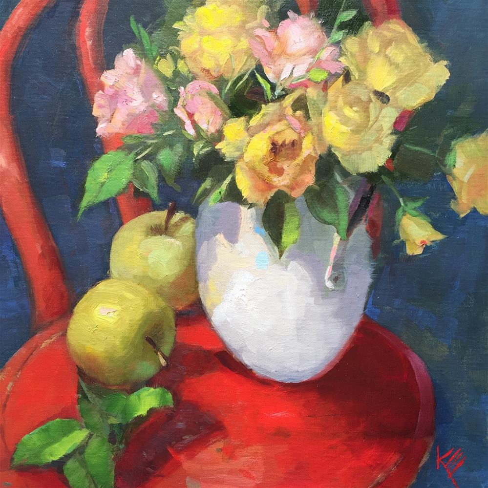 """Roses on Red Chair"" original fine art by Krista Eaton"