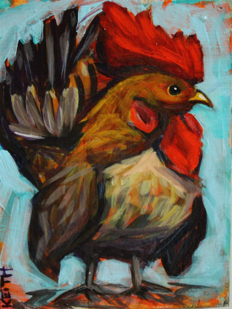"""Rooster"" original fine art by Kandice Keith"