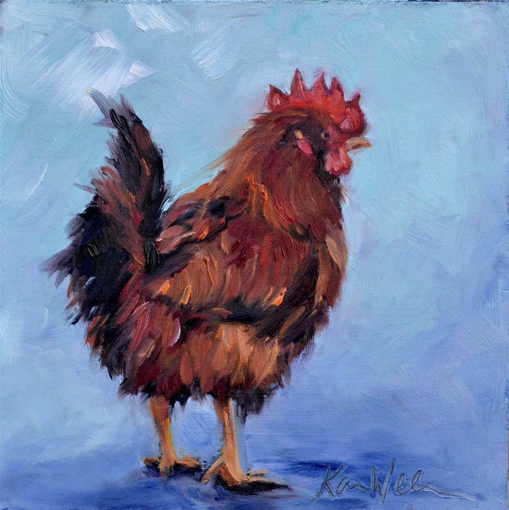 """""""Rooster time"""" original fine art by Karen Weber"""