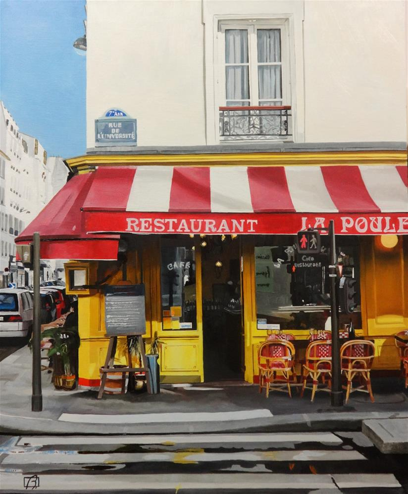 """Cafe La Poule au Pot"" original fine art by Andre Beaulieu"
