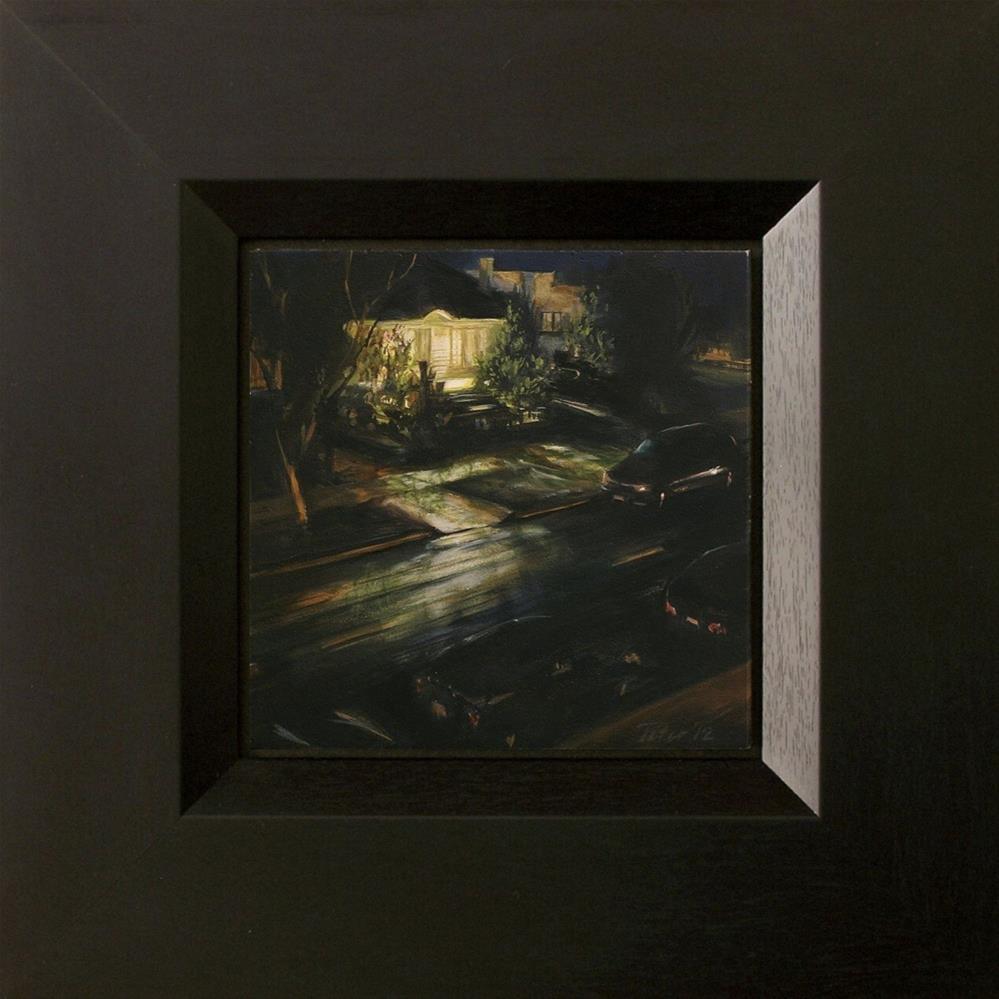 """18th St. Rain Nocturne"" original fine art by David J. Teter"