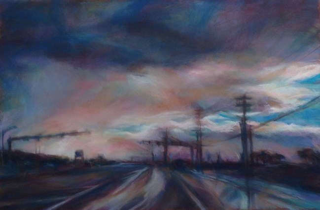 """RAINY EVENING - 8 x 12 pastel landscape by Susan E. Roden"" original fine art by Susan Roden"