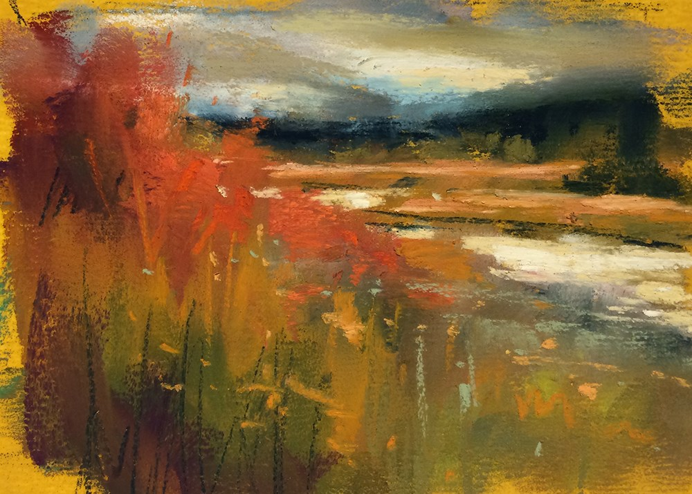 """Golds & Red"" original fine art by Marla Baggetta"