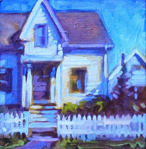 """Blue Fence"" original fine art by Karen Bruson"