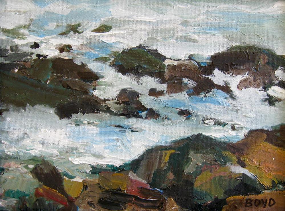 """""""Waves Crashing"""" original fine art by Cathy Boyd"""