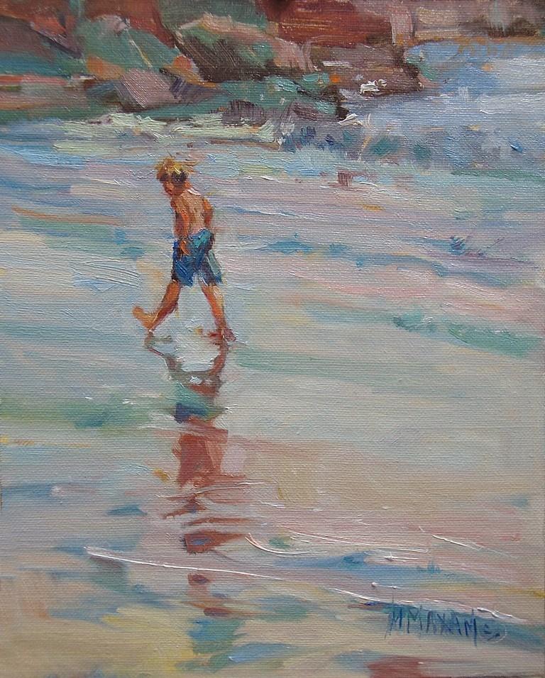 """Beach Walking"" original fine art by Mary Maxam"