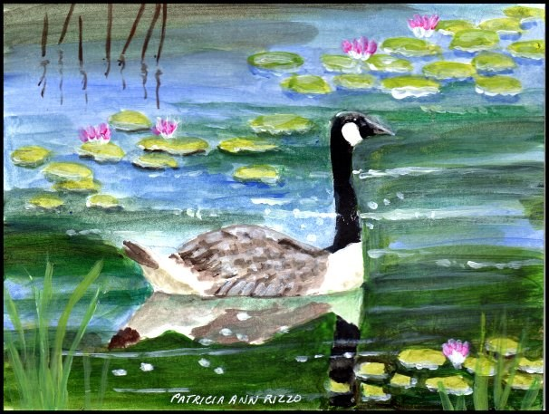 """A Goose in the Lily Pads"" original fine art by Patricia Ann Rizzo"