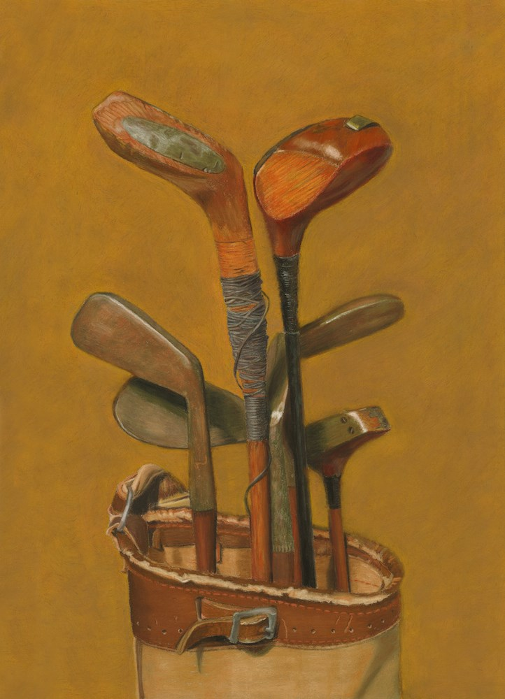 """Vintage Golf Clubs"" original fine art by Susan Fern"