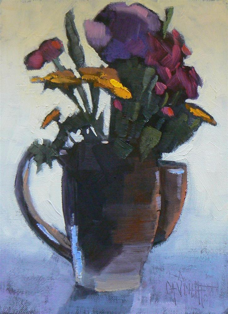 """Small Floral Still Life #1, 6x8 Oil Painting"" original fine art by Carol Schiff"